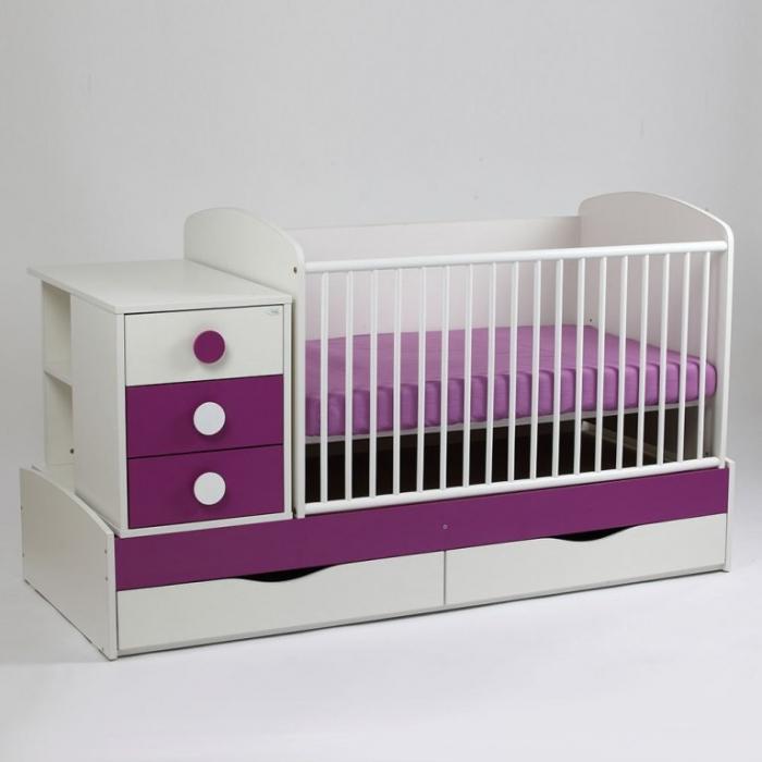 Patut copii transformabil Silence Alb-Mov inchis Bebe Design 0