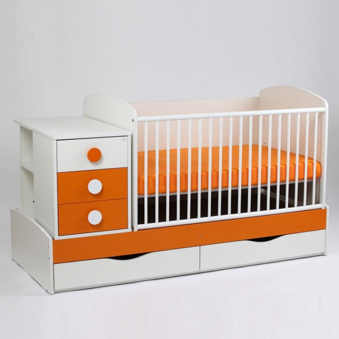 Patut copii transformabil Silence Alb-Portocaliu Bebe Design 0
