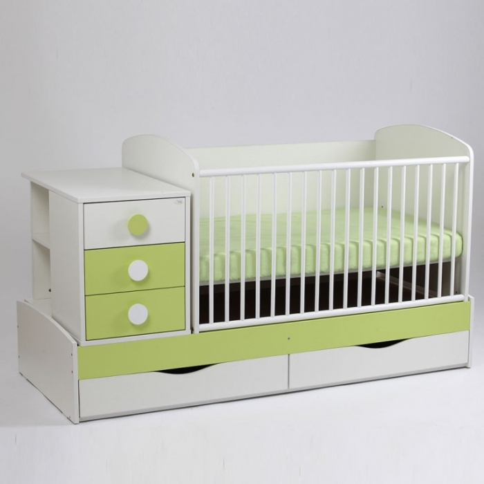 Patut copii transformabil Silence Alb-Verde deschis Bebe Design 0