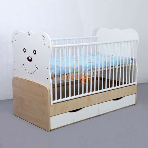 Patut copii transformabil Teddy Alb 140x70 cm Bebe Design 0