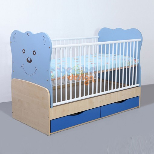 Patut copii transformabil Teddy cu leganare Albastru 140x70 cm Bebe Design 0