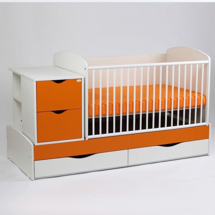 Patut copii Transformer Eco Plus Silence Alb-Portocaliu Bebe Design 0