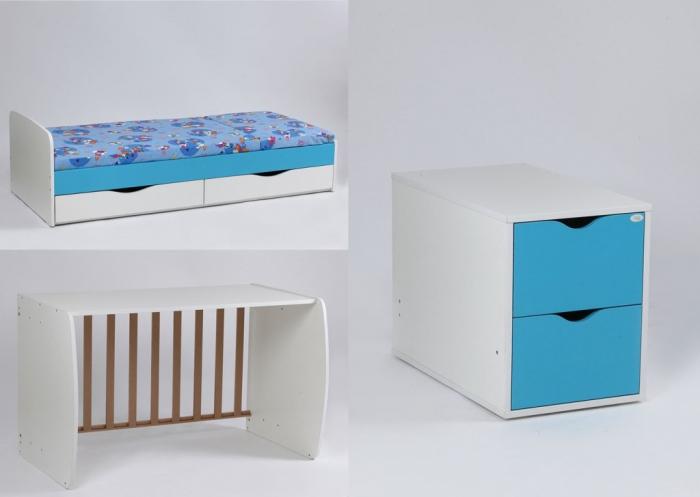 Patut copii Transformer Eco Plus Silence Alb-Wenge Bebe Design 1