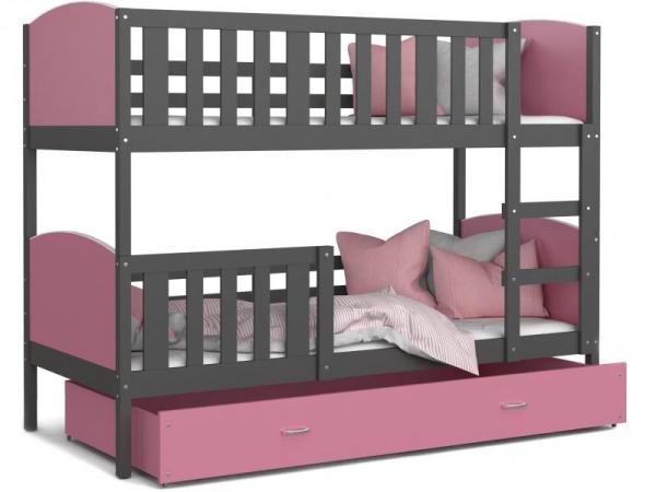 Patut tineret MyKids 2 in 1 Tami Color Grey/Pink-190x80 0