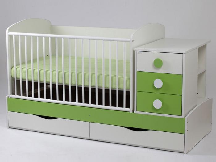 Patut Transformabil Silence Alb-Verde cu leganare Bebe Design 0