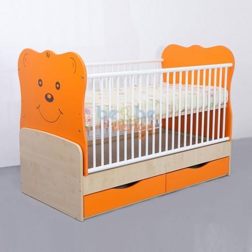 Patut Transformabil Teddy cu Leganare silence Portocaliu Bebe Design [0]