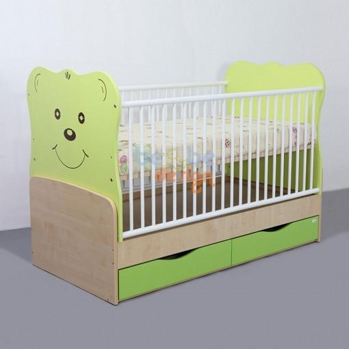 Patut Transformabil Teddy cu Leganare silence Verde deschis Bebe Design 0