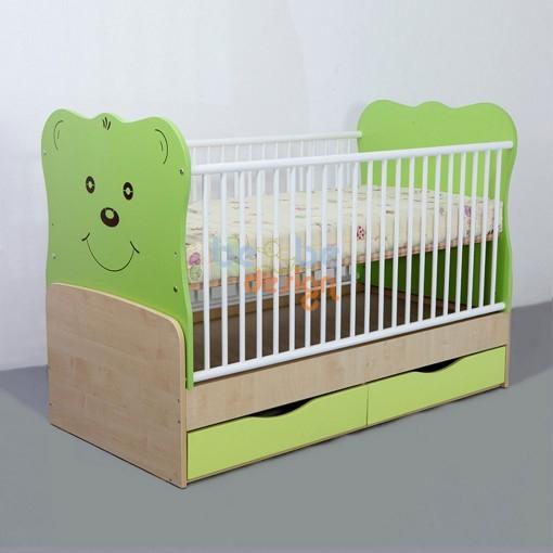 Patut Transformabil Teddy cu Leganare silence Verde Inchis Bebe Design 0