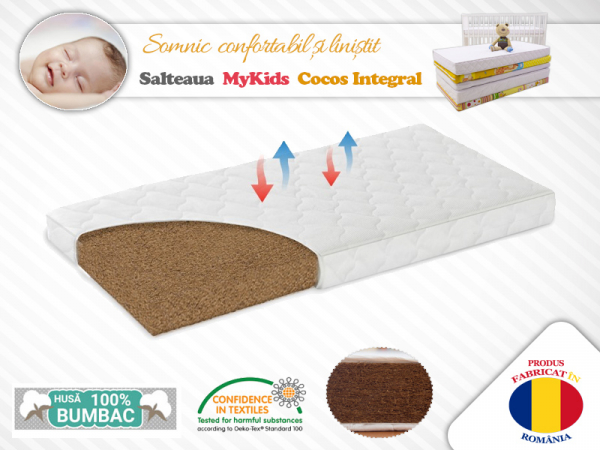Saltea MyKids Fibra de Cocos Integral 140x70x10 Husa Bumbac Matlasat 0