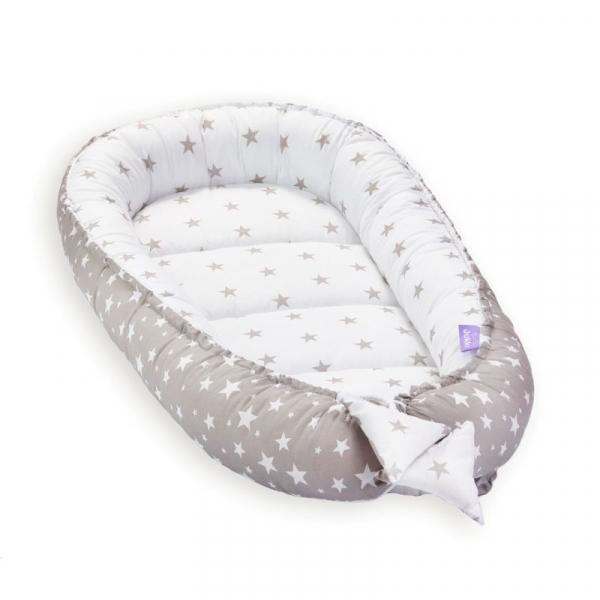 Set 5 piese Jukki Bebe rasfatat cosulet bebe, lenjerie, salteluta si perna bebe Grey stars [5]