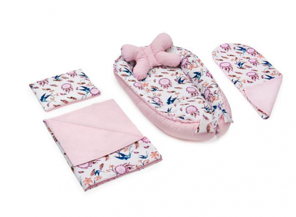 Set 5 piese Jukki Bebe rasfatat cosulet bebe, lenjerie, salteluta si perna bebe Swallows [0]