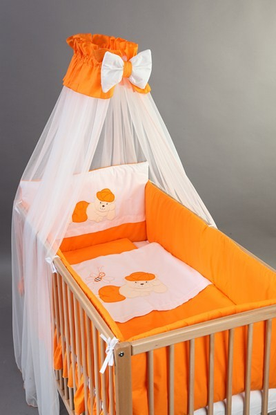 Set Lenjerie patut bebe si copii brodata 6 piese 120x60 Ursulet - BebeDesign 0