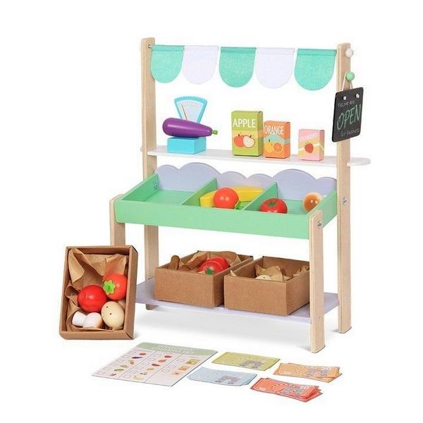Stand magazin din lemn Ecotoys + 37 accesorii 0