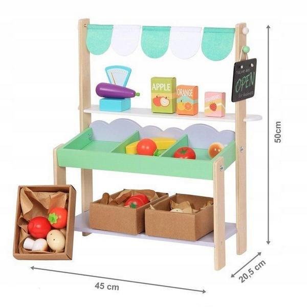 Stand magazin din lemn Ecotoys + 37 accesorii 2