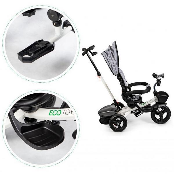 Tricicleta cu sezut reversibil Ecotoys JM-311 - Gri 7