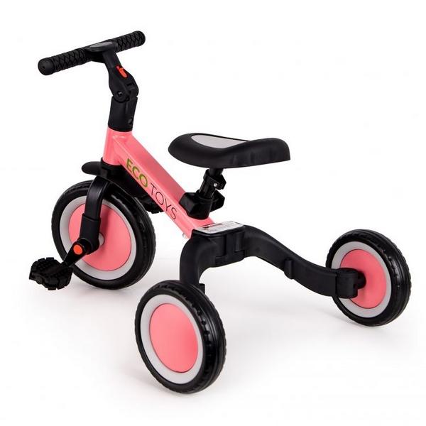 Tricicleta echilibru cu pedale ECOTOYS TR001, 4 in 1, roz 2