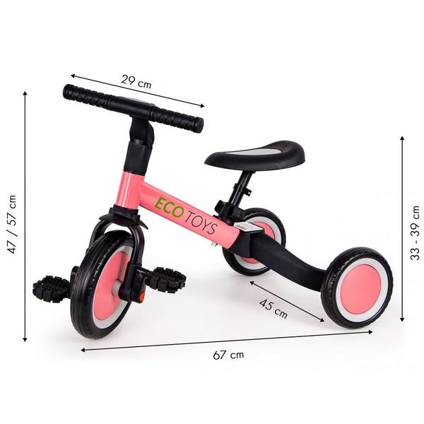 Tricicleta echilibru cu pedale ECOTOYS TR001, 4 in 1, roz 4