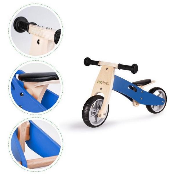 Tricicleta ECOTOYS YM-BB-01 cu pedale, 2 in 1 din lemn 3