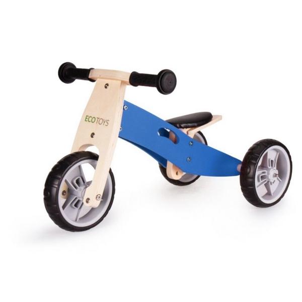 Tricicleta ECOTOYS YM-BB-01 cu pedale, 2 in 1 din lemn 1