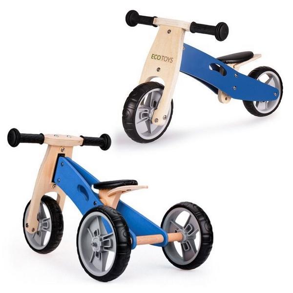 Tricicleta ECOTOYS YM-BB-01 cu pedale, 2 in 1 din lemn 0