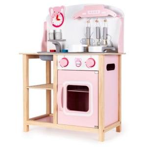 Bucatarie din lemn Ecotoys CA12009 cu sunete + accesorii bucatarie - roz [3]