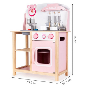 Bucatarie din lemn Ecotoys CA12009 cu sunete + accesorii bucatarie - roz [0]