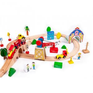 Circuit din lemn cale ferata din 78 piese Ecotoys HM008999 [3]
