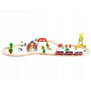 Circuit din lemn ECOTOYS HM180995, 53 piese si trenulet, multicolor1