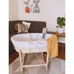 Cosulet bebe pentru dormit handmade din material ecologic Ahoj Baby natur, include stand cu sistem de leganare [3]
