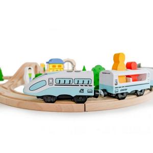 Jucarie cale ferata din lemn cu tren cu baterii Ecotoys HM015147, 69 elemente, multicolor4