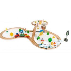Jucarie cale ferata din lemn cu tren cu baterii Ecotoys HM015147, 69 elemente, multicolor3