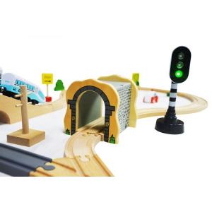 Jucarie cale ferata din lemn cu tren cu baterii Ecotoys HM015147, 69 elemente, multicolor8