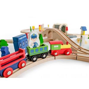 Jucarie cale ferata din lemn cu tren cu baterii Ecotoys HM015147, 69 elemente, multicolor6