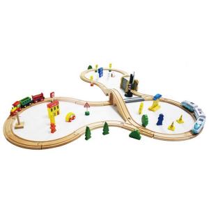 Jucarie cale ferata din lemn cu tren cu baterii Ecotoys HM015147, 69 elemente, multicolor0