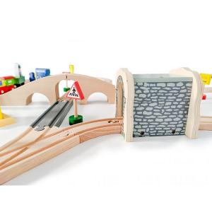 Jucarie cale ferata din lemn cu tren cu baterii Ecotoys HM015147, 69 elemente, multicolor5