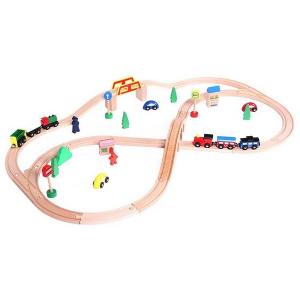 Linie de tren din lemn Ecotoys0