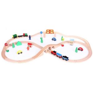 Linie de tren din lemn Ecotoys5