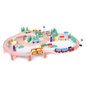 Linie de tren din lemn ECOTOYS HJD93940, 75 piese0