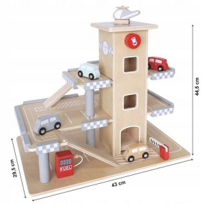 Parcare din lemn cu etaje si lift Ecotoys CA121043