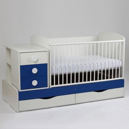 Patut copii transformabil Silence Alb-Albastru inchis Bebe Design0