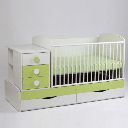 Patut copii transformabil Silence Alb-Verde deschis Bebe Design0