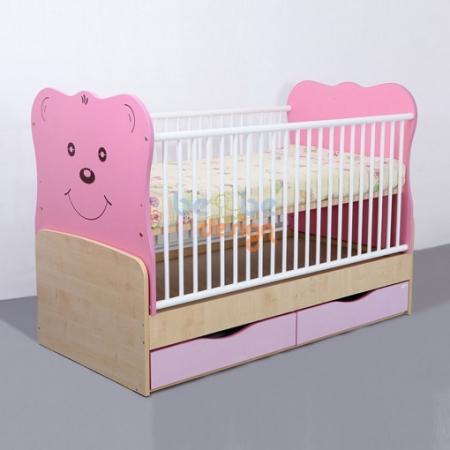 Patut copii transformabil Teddy cu leganare roz 140x70 cm Bebe Design0