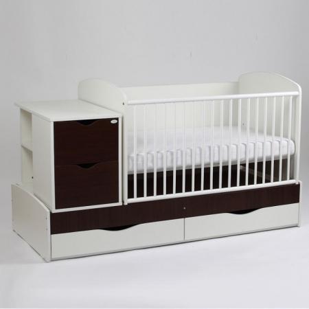 Patut copii Transformer Eco Plus Silence Alb-Wenge Bebe Design0