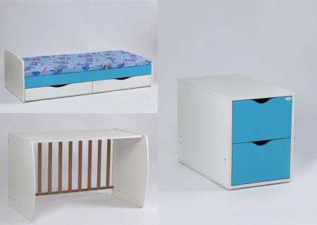 Patut copii Transformer Eco Plus Silence Alb-Wenge Bebe Design1