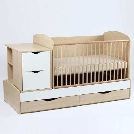 Patut copii Transformer Eco Plus Silence Natur-Alb Bebe Design0