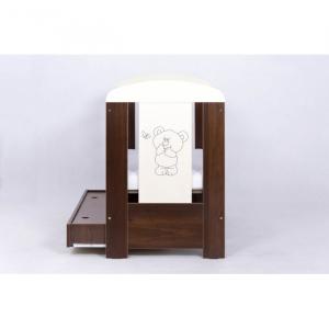 Patut Drewex Bear cu sertar - Wenge + Saltea Cocos 12 cm3