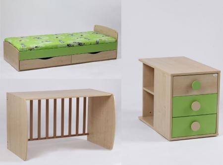 Patut Transformabil Silence Alb-Verde cu leganare Bebe Design1