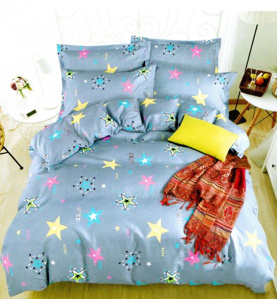Lenjerie de pat albastru deschis cu stelute multicolore