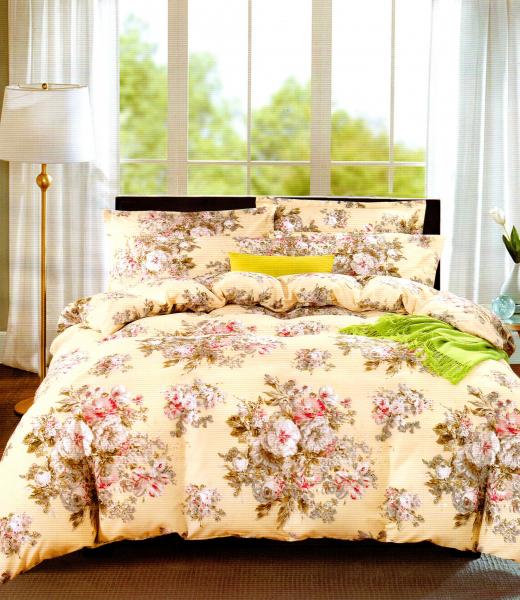 Lenjerie de pat crem cu buchete de flori
