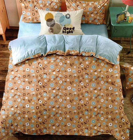 Lenjerie de pat maro cu multe floricele